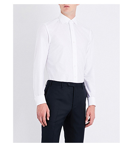 BRIONI Slim-fit cotton-twill shirt (White