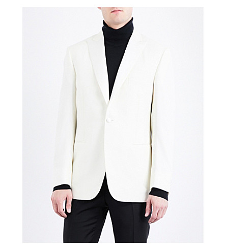 BRIONI Slim-fit wool tuxedo jacket (White