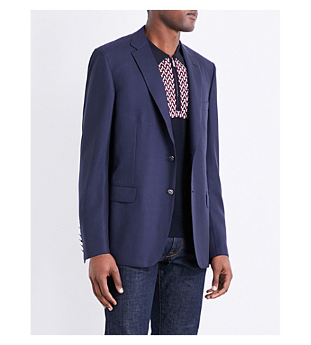 BRIONI Textured regular-fit wool-twill jacket (Navy