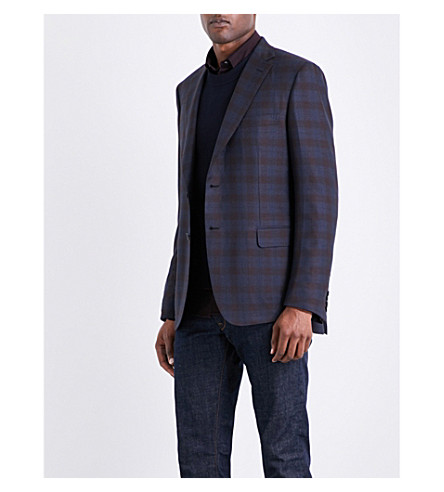 BRIONI Checked regular-fit wool and silk-blend jacket (Mid+blue