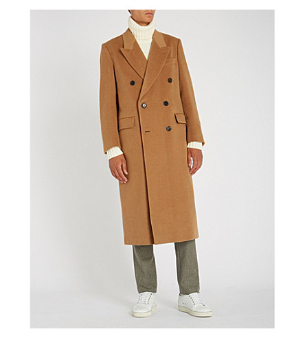 BRIONI Double-breasted camel-hair coat (Camel
