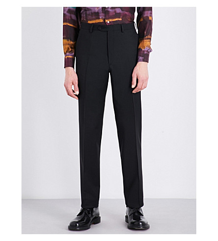 BRIONI Regular-fit wool and mohair-blend trousers (Black