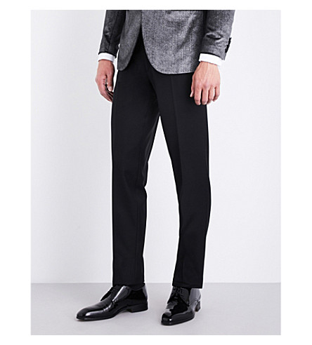 BRIONI Silk piping-detail regular-fit straight wool trousers (Black