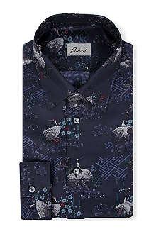 BRIONI Crane-print silk shirt