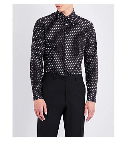 BRIONI Branded pinstriped-print regular-fit cotton shirt (Black