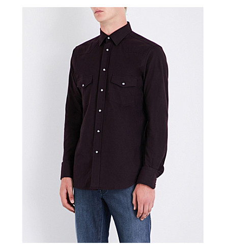 BRIONI Slim-fit cotton-twill shirt (Burgundy