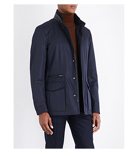 BRIONI Leather-trimmed field jacket (Navy