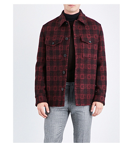 BRIONI Checked wool and cashmere-blend jacket (Red