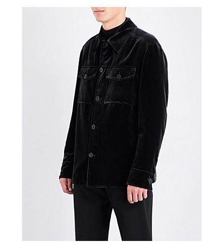 BRIONI Velvet cotton and silk-blend military jacket (Grey