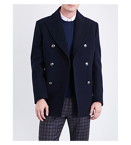 BRIONI Double-breasted wool peacoat (Navy
