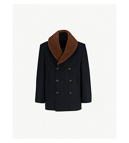 BRIONI Shearling collar cashmere coat (Navy