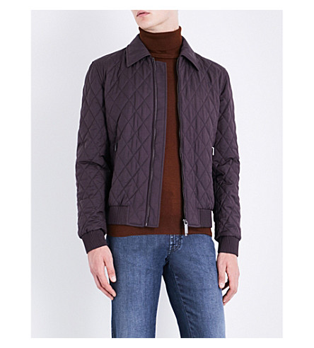 BRIONI Wool and silk-blend bomber jacket (Burgandy