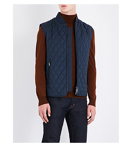 BRIONI Quilted wool and silk-blend vest (Navy