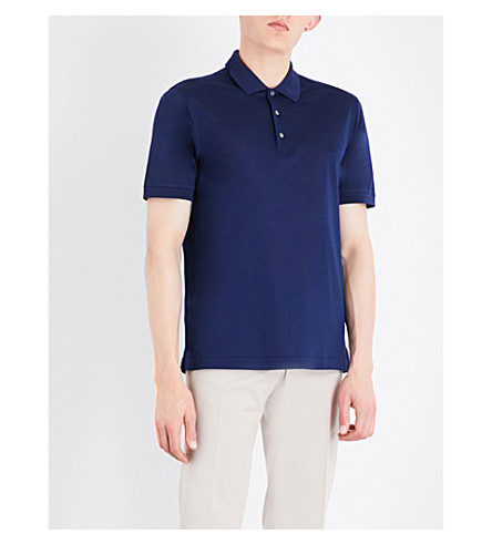 BRIONI Logo-embroidered cotton-mesh polo shirt (Navy