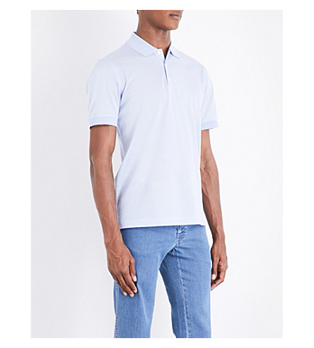 BRIONI Logo-embroidered cotton-mesh polo shirt (Lt+blue