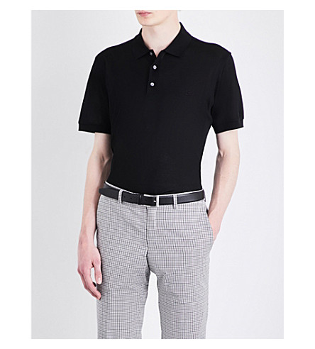 BRIONI Logo-embroidered cotton-mesh polo shirt (Black