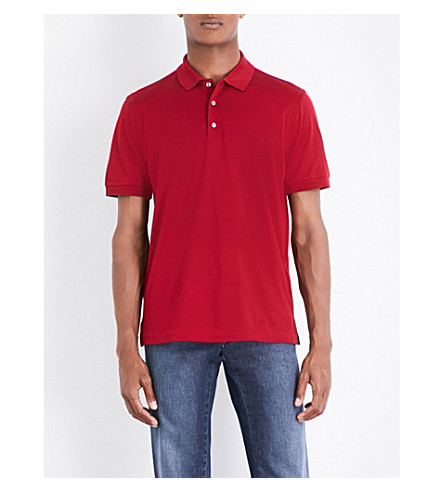 BRIONI Logo-embroidered cotton-mesh polo shirt (Red