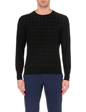 BRIONI Crew neck silk-blend jacquard jumper