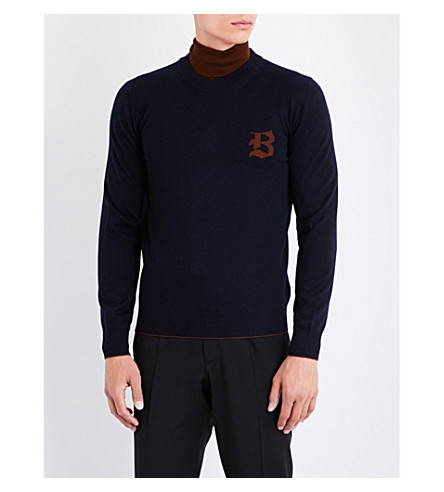 BRIONI Varsity logo-detail wool sweater (Navy