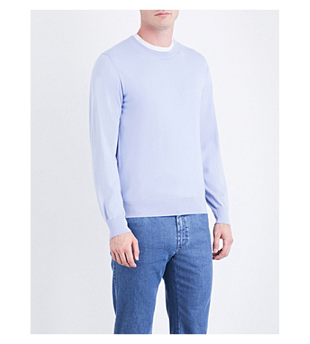 BRIONI Crewneck wool jumper (Lt+blue