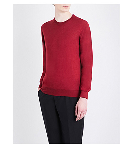 BRIONI Crewneck wool, silk and cashmere jumper (Red