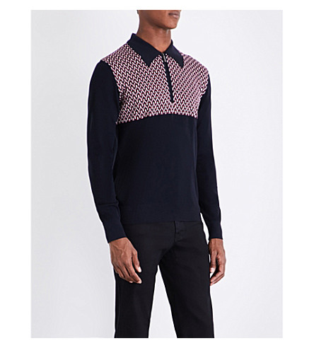 BRIONI Checked wool and silk-blend knitted polo top (Navy