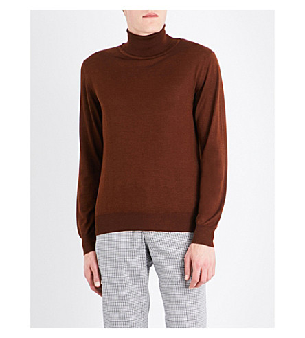 BRIONI Turtleneck wool, silk and cashmere jumper (Tobacco