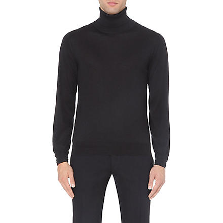 BRIONI Cashmere and silk roll-neck jumper (Navy