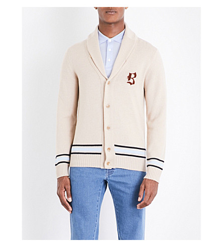 BRIONI Varsity knitted wool cardigan (Camel