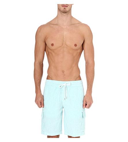VILEBREQUIN Berrix striped linen swim shorts (Sarcelle
