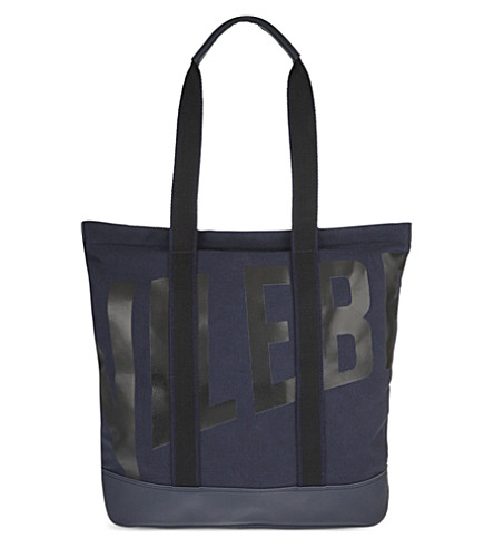 VILEBREQUIN Bertrand cotton & leather beach bag (Navy+blue