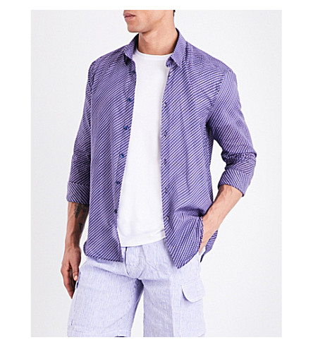 VILEBREQUIN Caracal Fish Waves-print cotton-voile shirt (Blue+multi