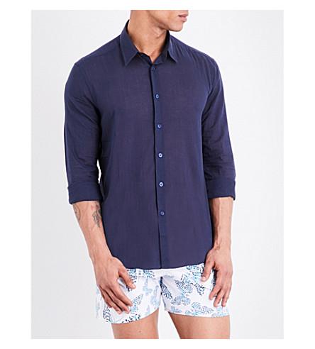 VILEBREQUIN Caracal cotton-voile shirt (Navy