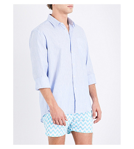 VILEBREQUIN Striped linen and cotton-blend shirt (Blue+wht