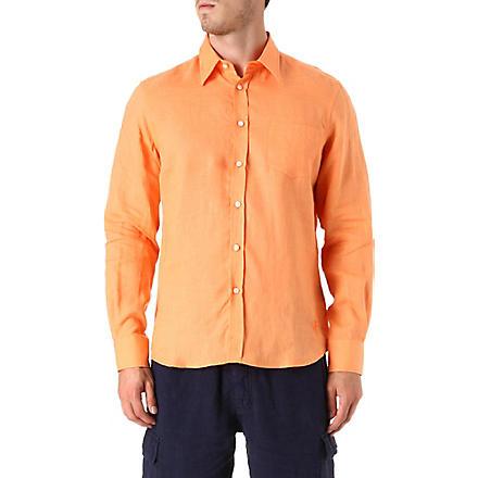 VILEBREQUIN Caroubier linen shirt (Tangerine