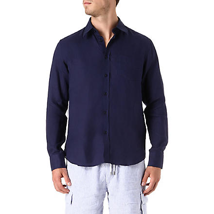 VILEBREQUIN Caroubier linen shirt (Navy