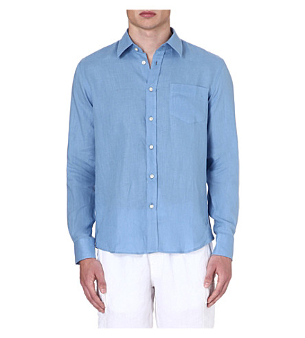VILEBREQUIN Caroubier linen shirt (Blue