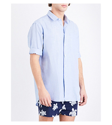 VILEBREQUIN Carouble regular-fit linen and cotton-blend shirt (Lt denim