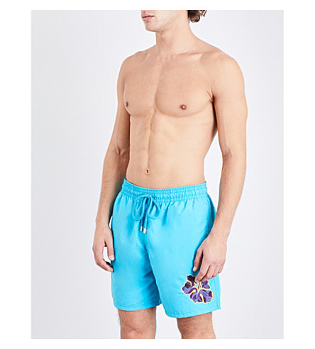 VILEBREQUIN Motu embroidered flower swim shorts (Sky+prpl