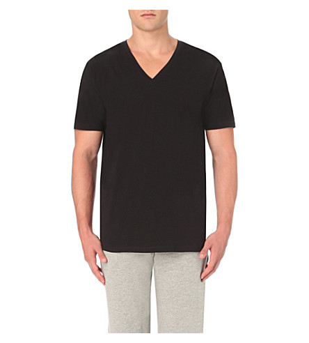 CALVIN KLEIN V-neck cotton-jersey t-shirt (Black