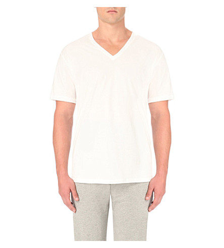 CALVIN KLEIN V-neck cotton-jersey t-shirt (White