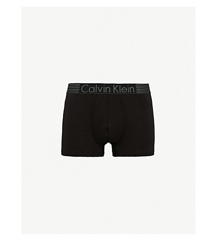 CALVIN KLEIN Iron Strength regular-fit stretch-cotton trunks (Black