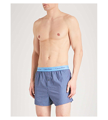 CALVIN KLEIN Pack of two slim-fit cotton boxer shorts (Blues