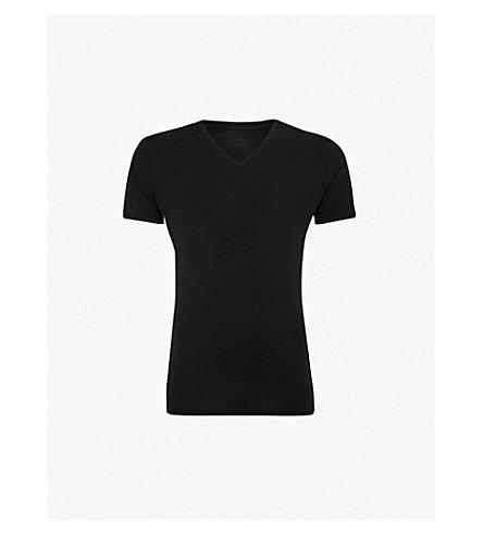 CALVIN KLEIN CK Black V-neck jersey t-shirt (Black