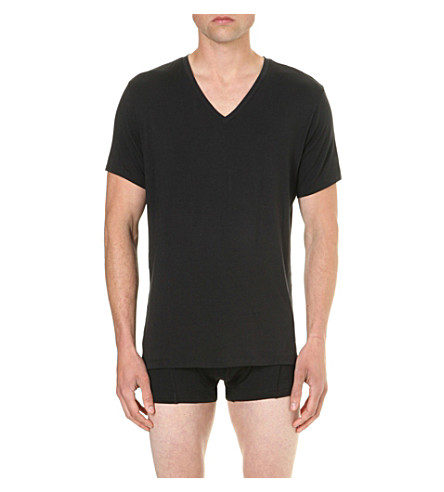 CALVIN KLEIN CK Black V-neck jersey t-shirt (Black