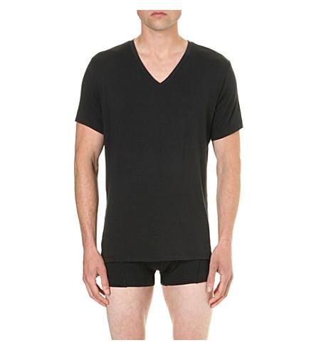 CALVIN KLEIN CK 黑色 V领平纹针织面料 T 恤 (黑色