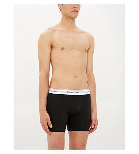 CALVIN KLEIN Pack of two Modern Cotton body defining-fit stretch-cotton trunks (Black+heather
