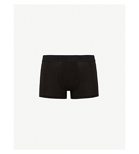 CALVIN KLEIN Ck black slim-fit stretch-cotton trunks (Blk