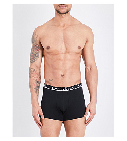 CALVIN KLEIN Calvin Klein ID regular-fit stretch-cotton trunks (Black