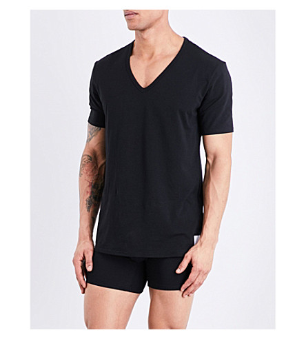 CALVIN KLEIN ID slim-fit stretch-cotton V-neck T-shirt (Black